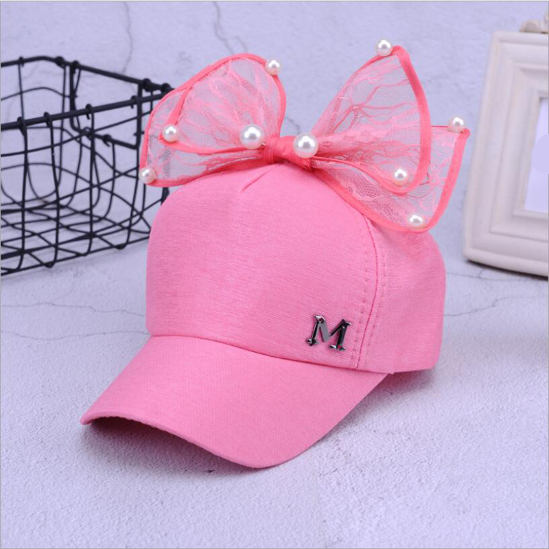 2018 Big Bow New Baseball Cap Lovely Korea Kids Girls Adjustable Net Cap Fashion Cartoon Patten Children Hats Bone
