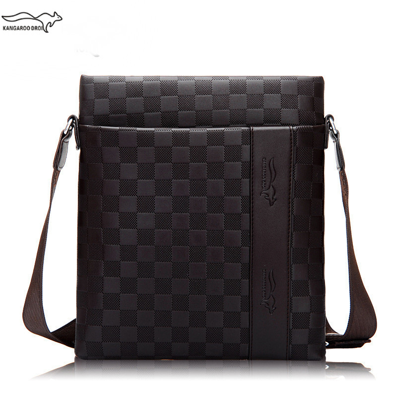 New Famous Brand PU Leather Men Crossbody Shoulder Messenger Bag Male Business Briefcase Plaid Pattern Casual Zipper Handbags men pu leather messenger crossbody bag briefcase shoulder bag pure color simple business hand bag free shipping