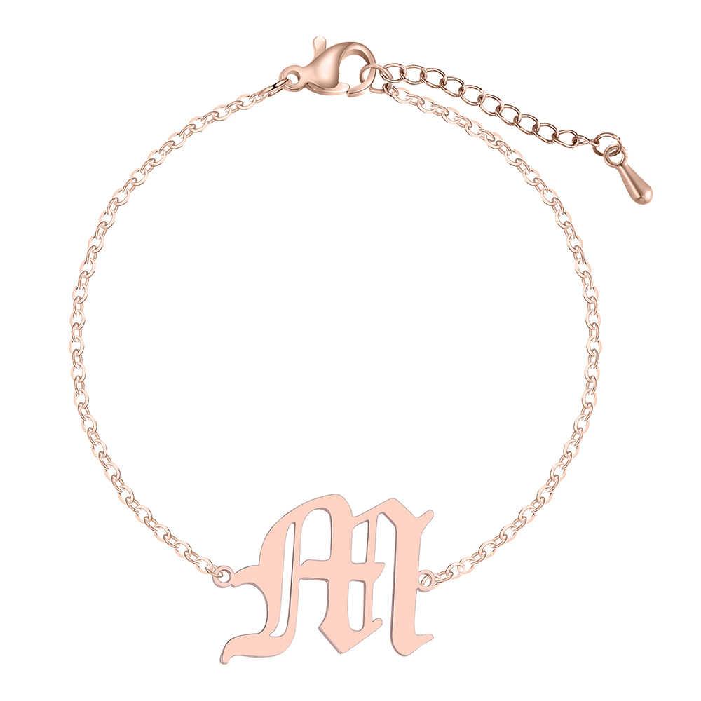 QIMING буква М простой браслет Homme розовое золото Винтаж Jewelry персонализированные Старый английский шрифт Подруга подарков модные Браслеты