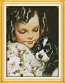 Dog and lovely  girl Printed Canvas DMC Counted Chinese Cross Stitch Kits printed Cross-stitch set Embroidery Needlework