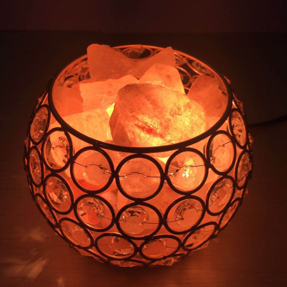 Night Light Round Ball Shape Healthy Life Himalayan Natural Crystal Salt Light Air Purifying Home Furniture Lamp