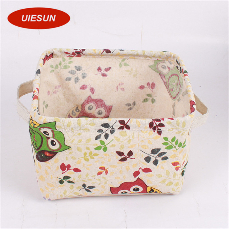 Hot Sales Owl Cotton Linen Desk Storage Box Holder Jewelry Cosmetic Stationery Organizer Case UIE600
