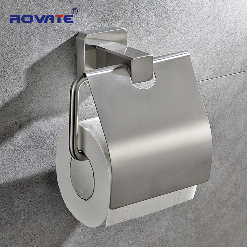 ROVATE Stainless Steel Toilet Paper Holder Nickle Brushed Surface Toilet Roll Holder Wall Mounted Holder Bathroom Accessories