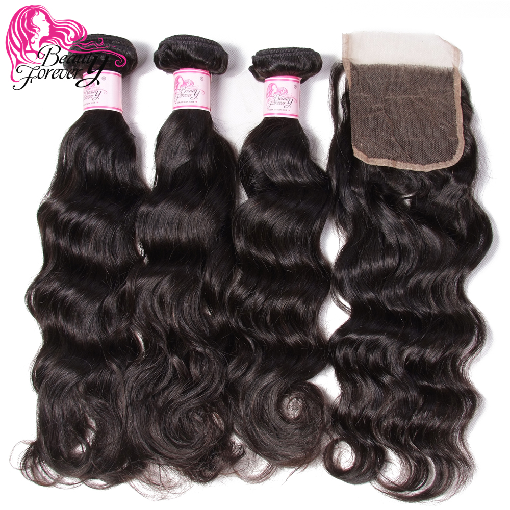 Beauty Forever Brazilian Human Hair Natural Wave 3 Bundles With Lace Closure 4 4 Free Part