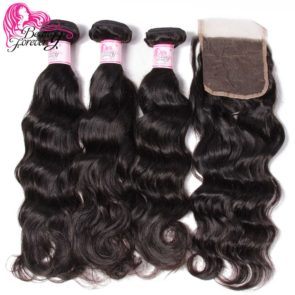 Beauty Forever Brazilian Human Hair Natural Wave 3 Bundles With Lace Closure 4*4 Free Part Remy Hair Extension