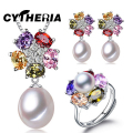 CYTHERIA Jewelry set, 100% real natural freshwater pearl jewelry gifts for women,pendant & earrings & ring ,gift box,2016 new