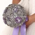Роскошные Высшего качества Ручной Работы жемчужина Брошь невесты Свадебное свадебный букет невесты горничная стразы Искусственный фиолетовые цветы 8591 Г