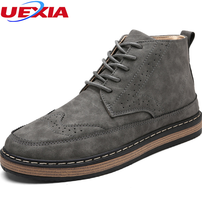 Autumn Ankle Boots Men Handmade Lace up Carving Casual Work Shoes Man Western Fashion Dress Cowboy