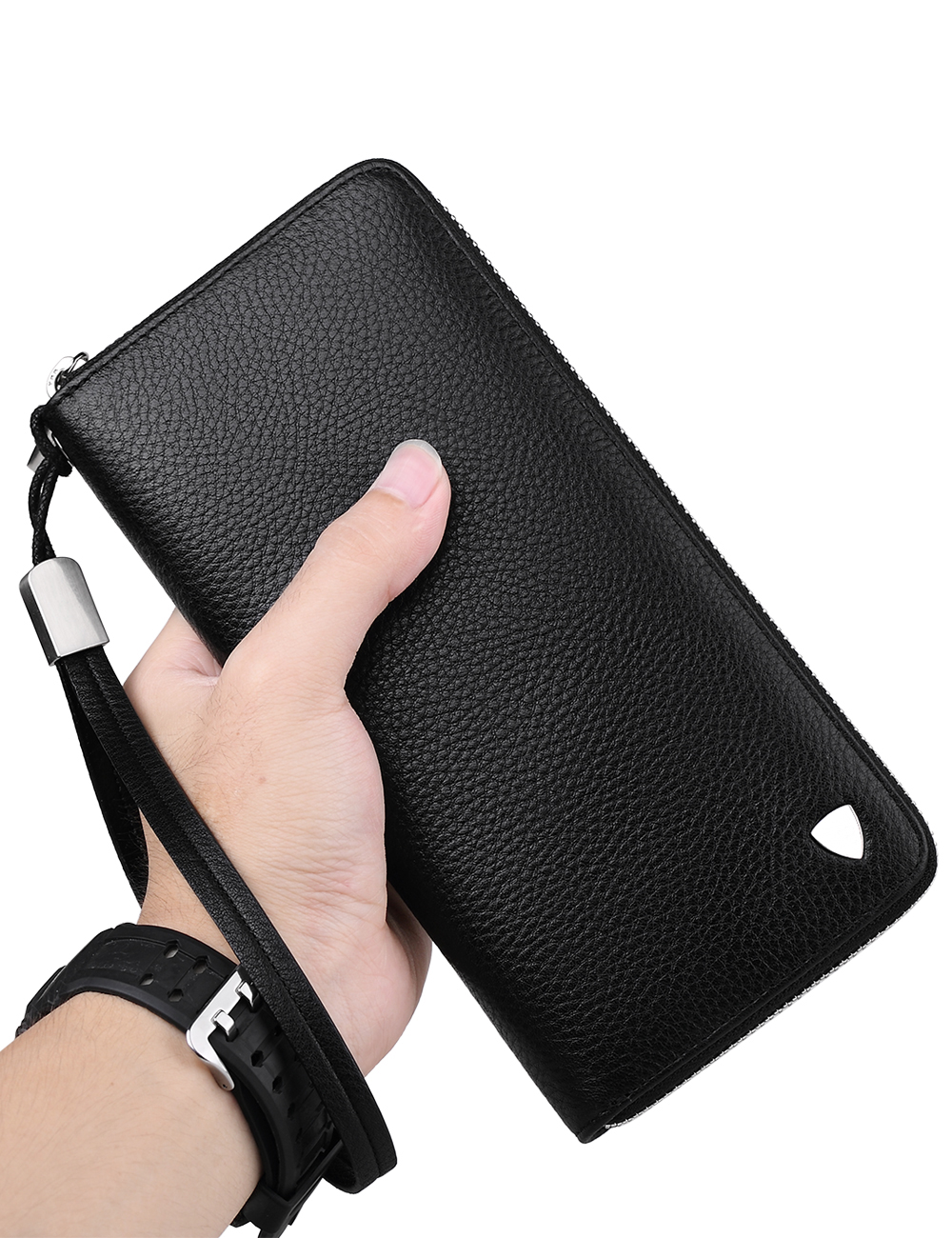 WilliamPOLO Long Clutch Bag Leather Wallet Men Genuine Leather Luxury Brand Men Zipper Wallets Multi Card