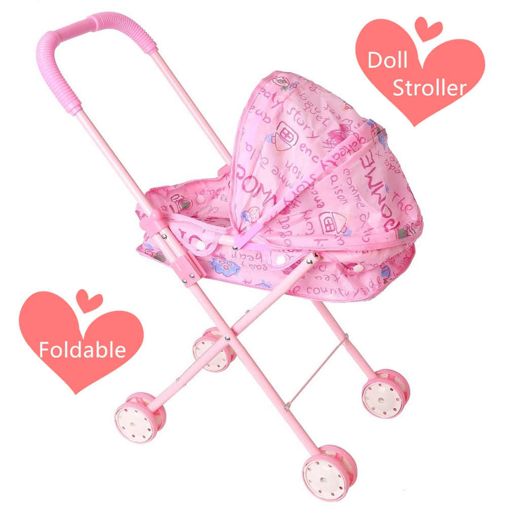 ea01635e1 Pink Simulation Doll Stroller Foldable Trolley Cart Furniture for Dolls  Kids Children Pretend Play Game Girls
