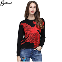 Emitiral Autumn Winter Women Sweater 2017 Long Sleeves Dehair Angora Female Pullovers Red Fish Embroidery Beading