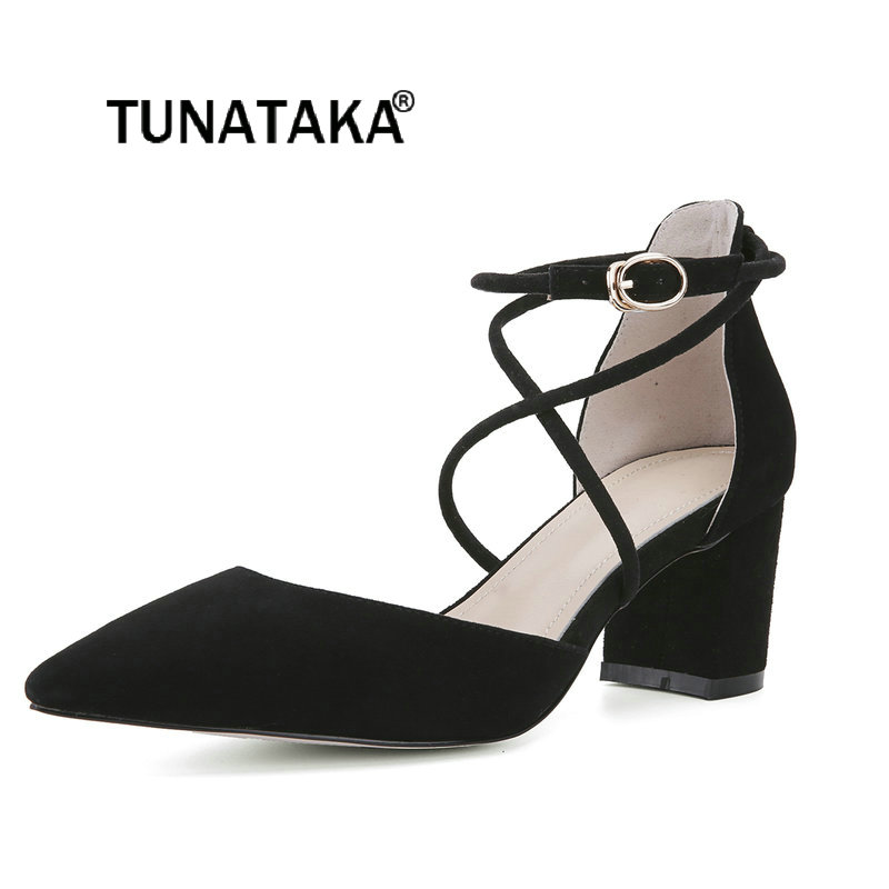Women Suede Buckle Strap Thick High Heel Pumps Fashion Cross Tied Pointed Toe 2018 The New Dress Women Shoes Black Pink Blue low price top quality hot selling 2017 new style black suede leather cross tied super high thick heels fashion for women sandals