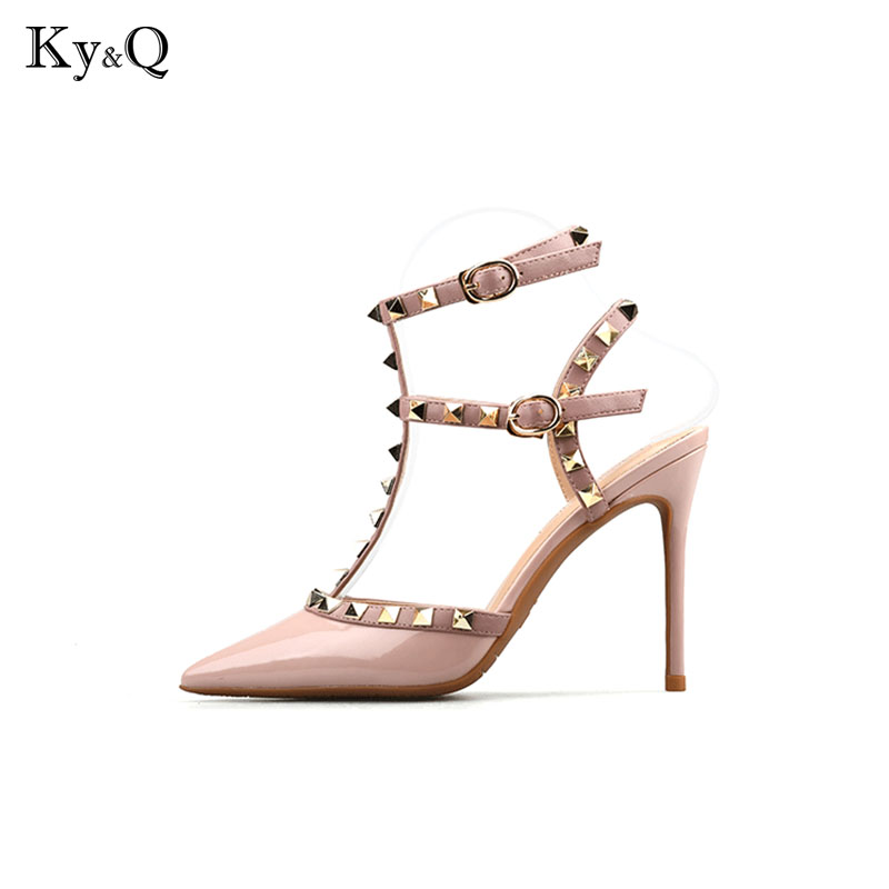 Summer Women Pumps Pointed Toe High Heels Fashion Women Shoes Rivets Pumps Genuine Leather Ankle Strap High Heel Shoes 8 cm цена