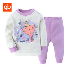 GB Baby Sets 100% Cotton Gold Fleece Winter Warm Cute Cartoon Long Sleeve Tops Pants Breathable for 6-36 Months Brand Clothing(China)