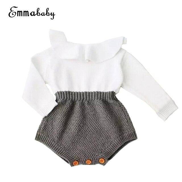 b02a88812d32 2017 Fall Winter Newborn Baby Girl Cute Knitting Romper Long Sleeve ...
