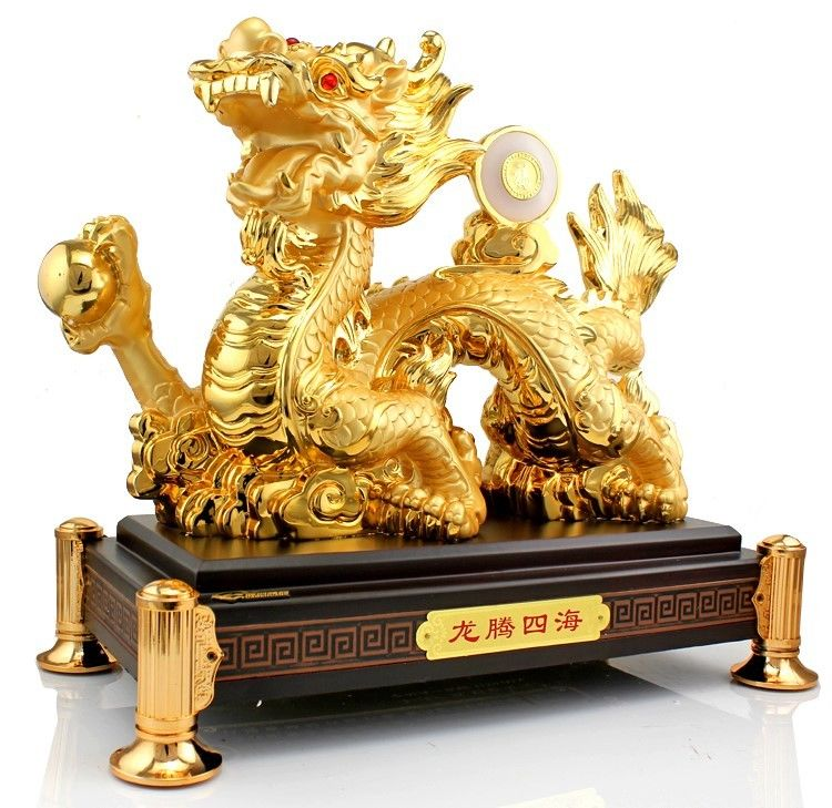 15 quot China resin gild Feng Shui carved beautiful money dragon Sculpture statue in Statues amp Sculptures from Home amp Garden
