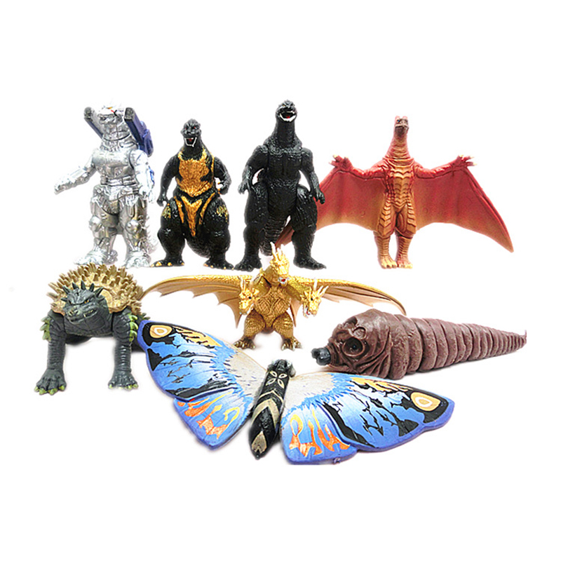 8pcs/lot Bandai-godzilla figure Gojira king of the monsters toy Action Figure Movable doll Model Kid Kind Anime Movie 8.5cm