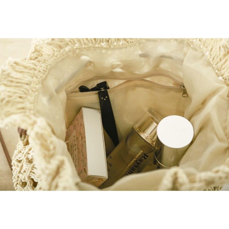 OCEHNUU Summer Flowers Beach Bag Woman Straw Shoulder Bag Woven Knitting Crossbody Bags For Women Messenger Bags Hollow Out 2020 5