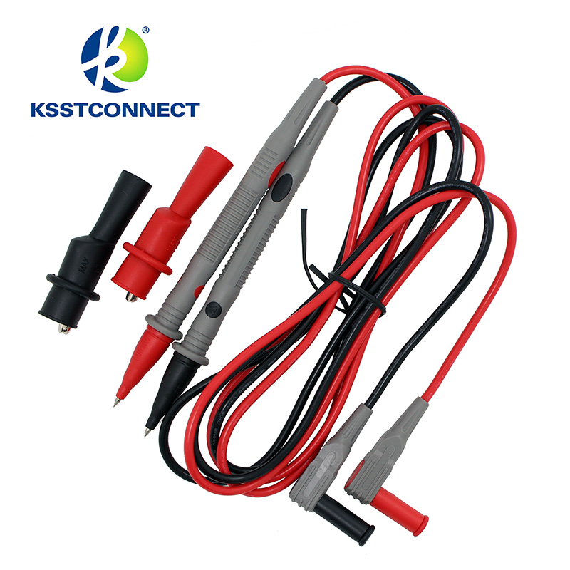TPC602 1 Pair Universal safety 2mm Probe Test Leads for Digital Multimeter CATIII 10A + 2mm Alligators clip 1 pairs professional rigid shaft clamp type test probe hook with 4mm socket insulation piercing clip catiii 1000vac 10a max
