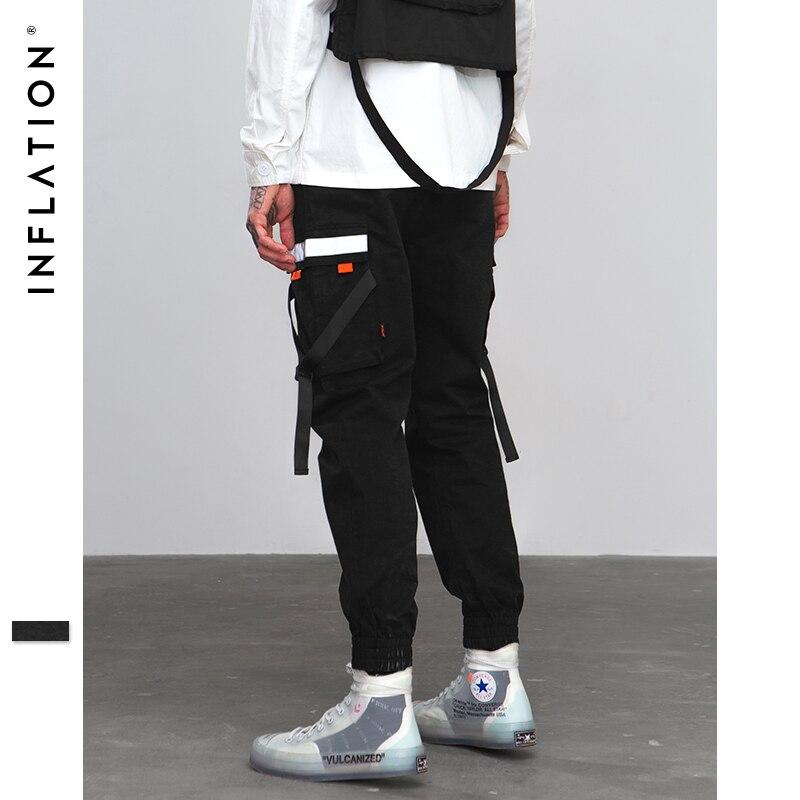 INFLATION Hip Hop Harem Jogger Hosen 2018 Männliche Hosen Herren Tasche Bänder Elastische Taille Casual Hosen Jogginghose 8860 watt