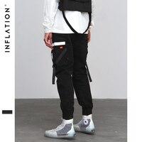 INFLATION Hip Hop Harem Joggers Pants 2018 Male Trousers Mens Pocket Tapes Elastic Waist Casual Pants Sweatpants 8860W