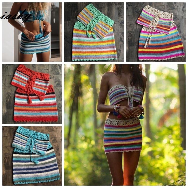 9be633d13166c IASKY 2PCS/Set handmade colorful striped crochet bikini top+ skirt beach  cover up set sexy women swimsuit swimwear Cover Ups beachwear