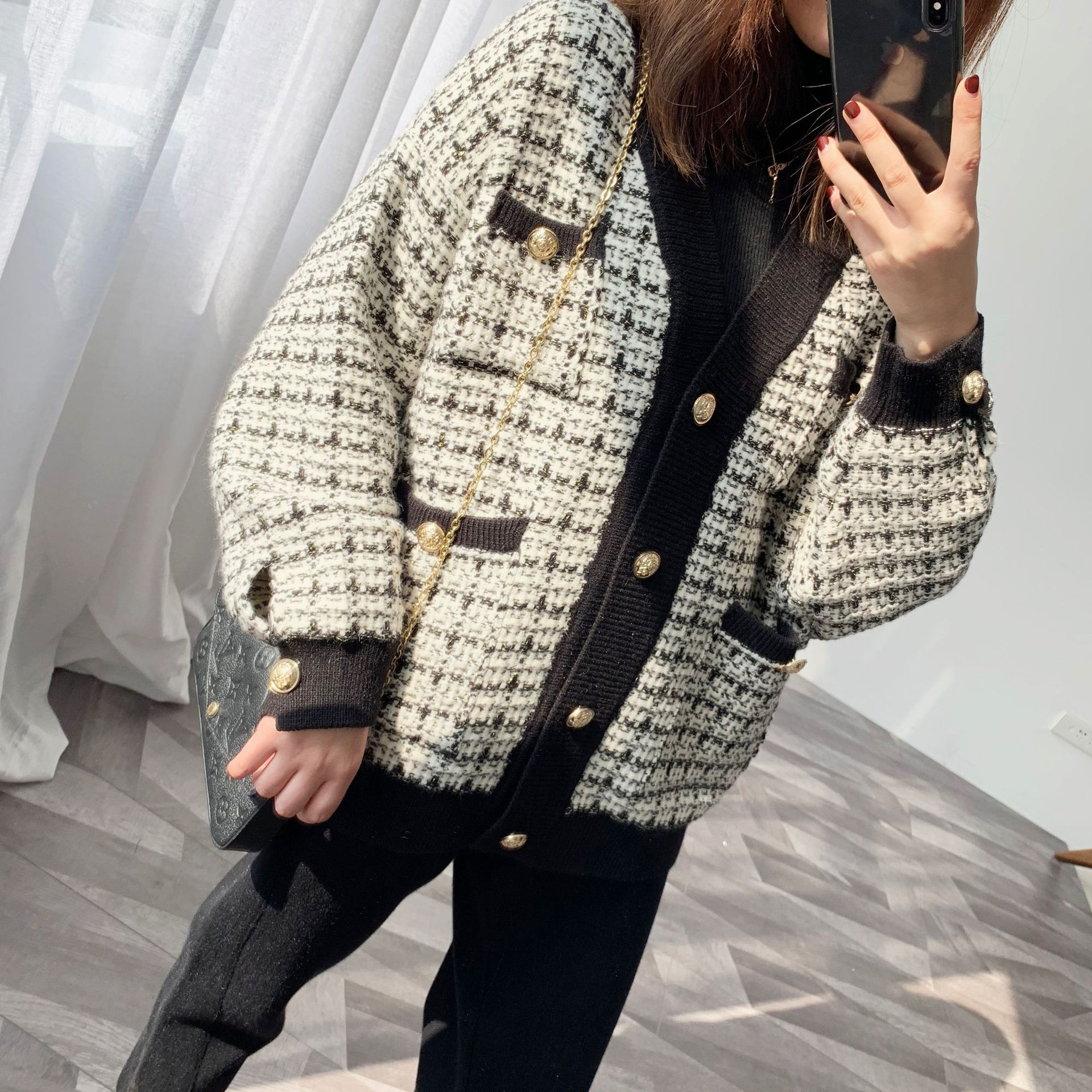 Elegant Plaid Knitted Cardigan Women Single Breasted Sweater Cardigan 2019 Autumn Winter Oversized Cardigan Jumper LT985S50(China)