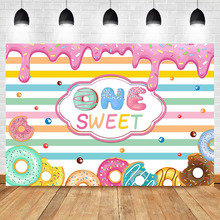 NeoBack Donut Sweet Girl Baby Cake 1th Birthday Photography Backdrops Cream Chocolate Color Stripes Photo Background Photophone