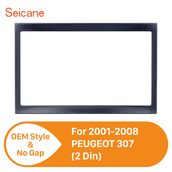 Seicane 173*98mm Black 2Din Car Stereo Interface Panel Fascia Frame for 2001-2008 PEUGEOT 307 surround DVD Radio Cover Plate image