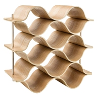 ABLA 9 Bottle Wooden Wave Wine Rack Freestanding For Table, Bar Or Counter Modern Minimalist Design Sweet And Dry Wines For Sm