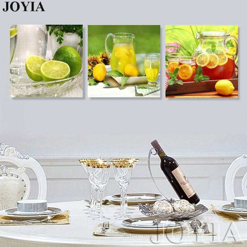 € 6.25 45% de DESCUENTO|Decoración de la cocina del hogar lienzo arte  moderno pared pintura fruta té limón Cuadros para comedor sala 3 piezas No  ...
