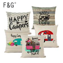 Happy Camper Cushion Cover Camping Days Decorative Pillows for Home Garden Pillow Linen Gifts Cojines Decorativos Para Sof