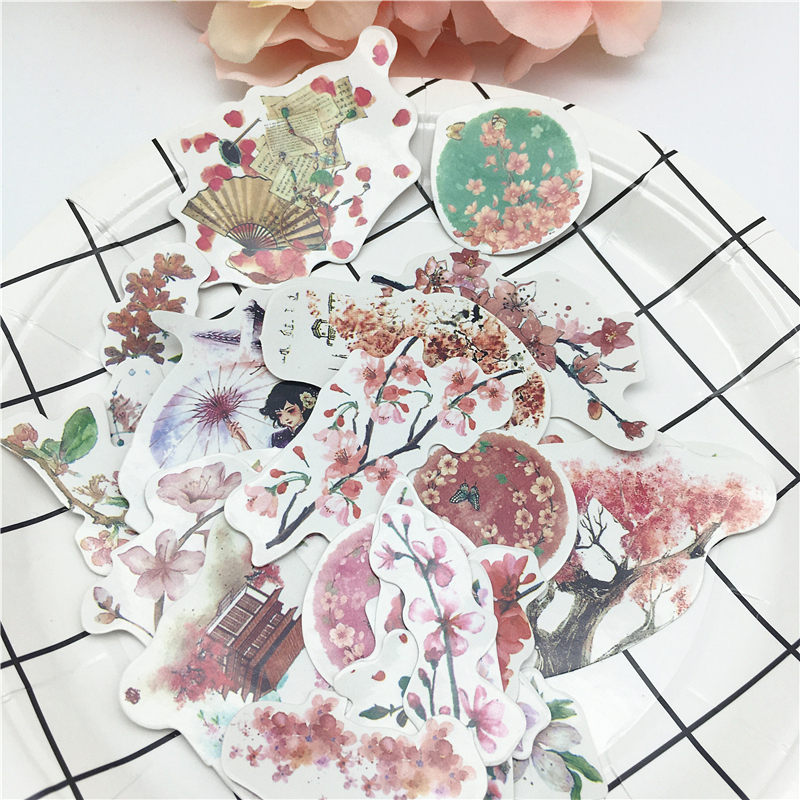 21pcs Chinese Antiquity Flowers  Peach Blossom Stickers Diary Label Stickers Pack Decorative Scrapbooking DIY Stickers