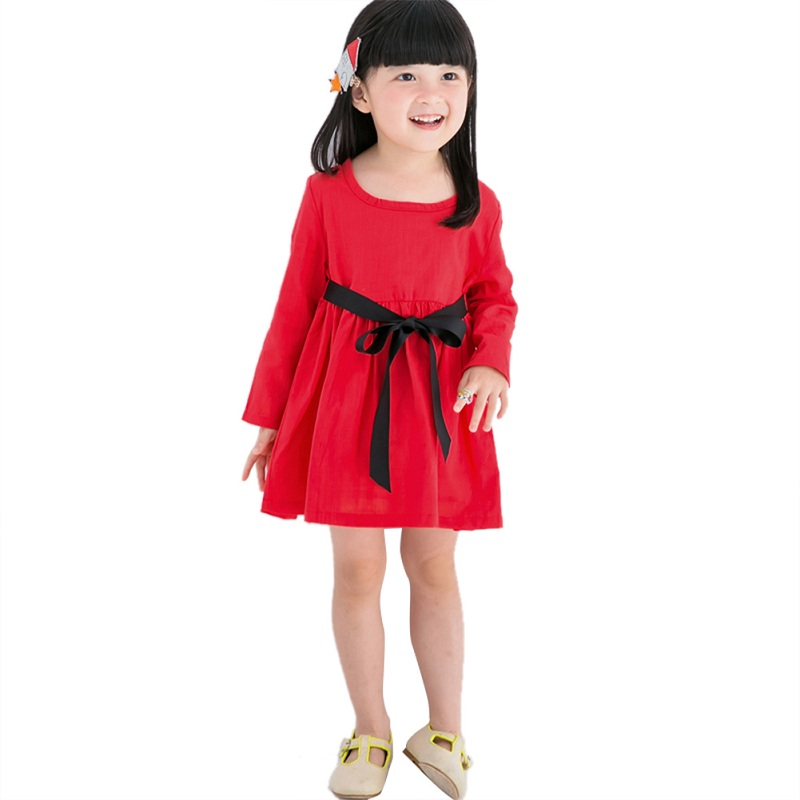 e6ec45f2818 Nyår barn klänning flicka röda klänning långärmad höst söt casual ...