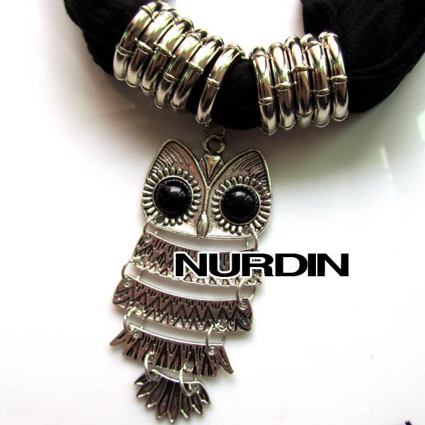 Hot Sale Pendant Scarf,Owl Design,Alloy Material And 15 Colors Mixed,170*40cm,Wrinkle Cloth Soft and Light,Wholesale