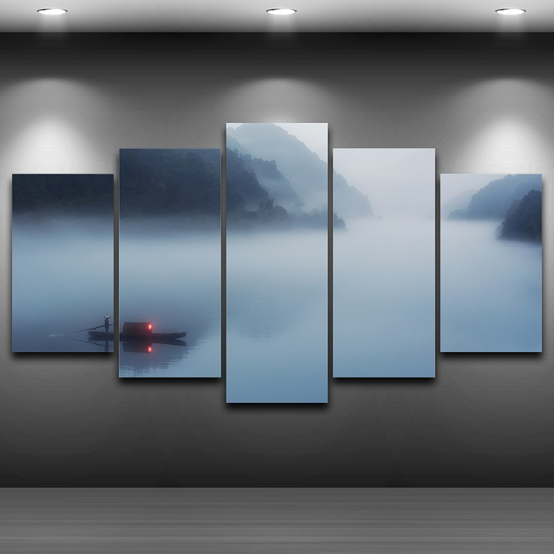 Fog River Spray Oil Painting Decoration HD Printed Home Decor Artistic Printed Drawing on Canvas Framed wall art picture AE0743