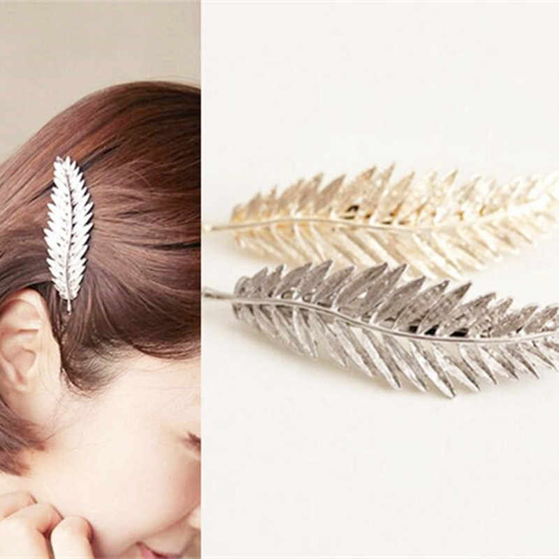 Europe and the United States retro exaggerated feather leaf hairpin   4JWD57