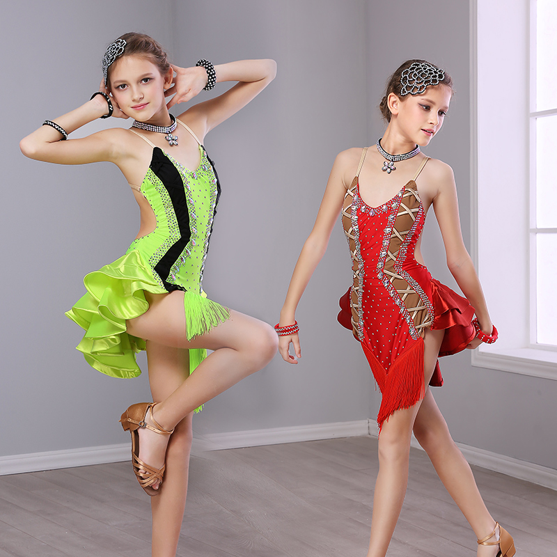 Latin Dance Dress For Girls Sexy Sleeveless Ballroom Dancing Dresses For Kids Tango Clothes Competition Performance Wear DN1098