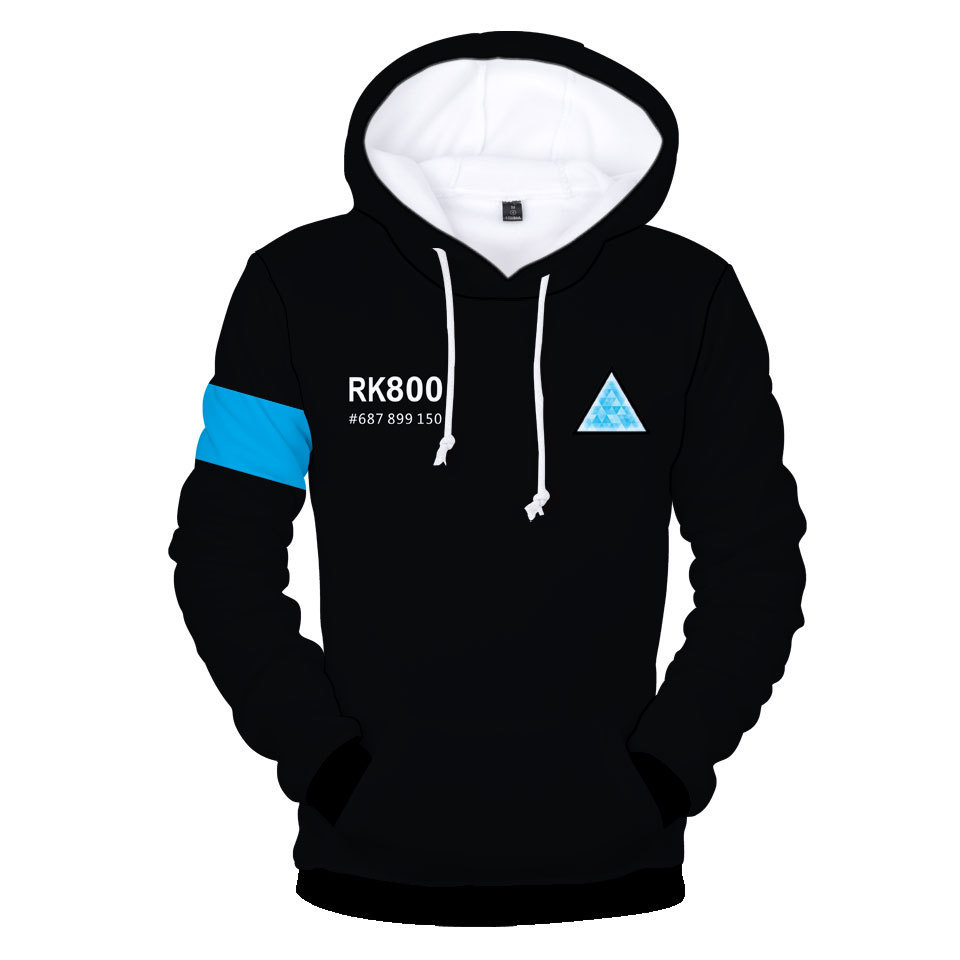 3d print 2018 new fashion hot sale Detroit: Become Human Detroit trend 3D digital printing hooded men Hoodie Sweatshirt