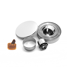 12pcs Round Circle Stainless Steel Cookie Cutter Cake Decorating Fondant Mousse Cake Molds Kitchen Baking Cookie Tools 14pcs set stainless steel dumplings wrappers cutter maker tools cake moulds mousse ring round stainless steel cookie molds set
