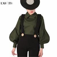 Womens Tops 2017 New Arrival Spring Loose Ladies Long Sleeve Blouse Peter Pan Collar Shirt Elegant