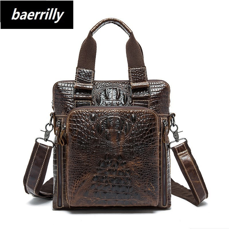 crocodile Genuine Leather Bag Men Bag Cowhide Men Crossbody Bags Men's Travel Shoulder Bags Tote ipad Briefcases Handbag lacus jerry genuine cowhide leather men bag crossbody bags men s travel shoulder messenger bag tote laptop briefcases handbags