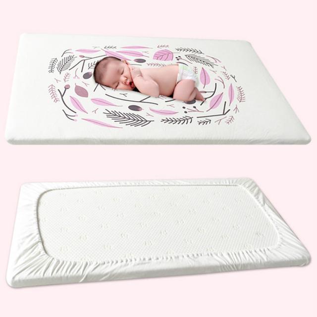 70*130 cm Bebé Sábanas ajustables Ins Caliente Estilo de Impresión Del Medio Ambiente Puro Algodón Bebé Ropa De Cama Elástica Alrededor de Teñido Cubierta de La cama