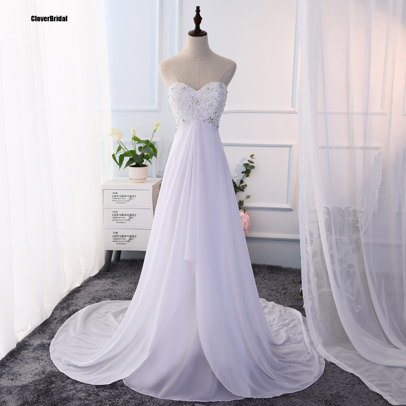 Elegant Beaded Chiffon Sweetheart Keyhole Ons Back Court Train Empire Simple Summer Outdoor Wedding Dresses In From Weddings Events On