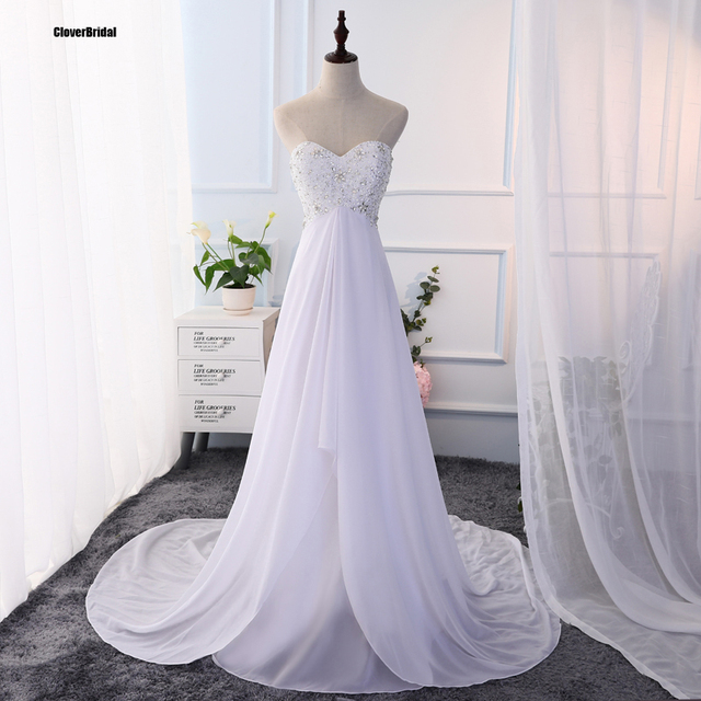 Elegant Beaded Chiffon Sweetheart Keyhole Buttons Back Court Train Empire  Simple Summer Outdoor Wedding Dresses