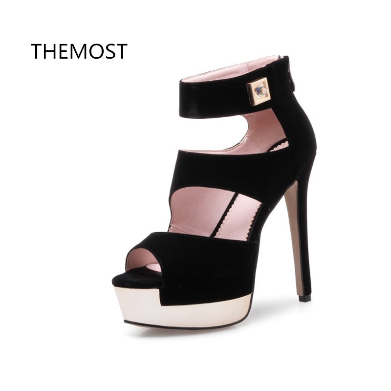 THEMOST Fish mouth sexy Roman sandals fashion foreign trade women's shoes 2018 summer new European style Waterproof Taiwan themost sexy fish mouth hollowed out roman sandals fashion foreign trade european and american style four colors can be selected