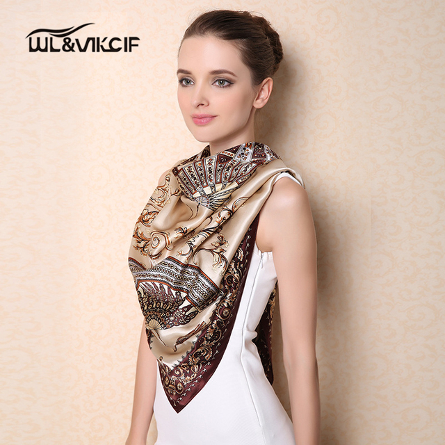 100% Natural Silk Scarf High-grade Twill Scarves Women Luxury Brand Square Shawl Hijab Print Large Size 110*110cm Ar05