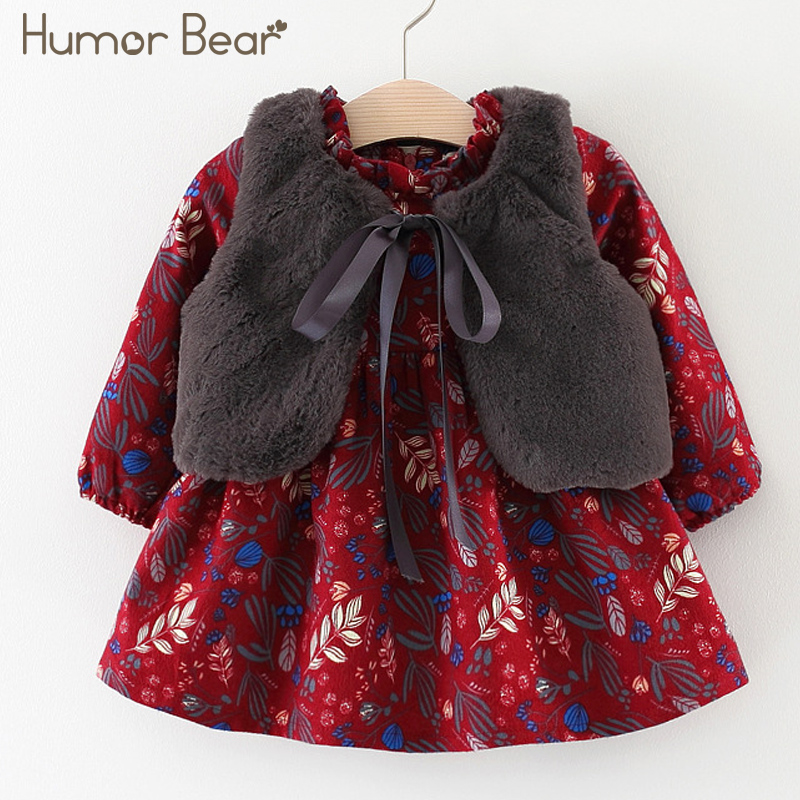 Humor Bear 2018 New Autumn Style Baby Girls Princess Dress Velvet long-sleeve dress Party Dresses Baby Clothes Baby Clothing 2015 new spring autumn korea style girls cute leather lace patchwork princess long sleeve dresses baby boutique dress