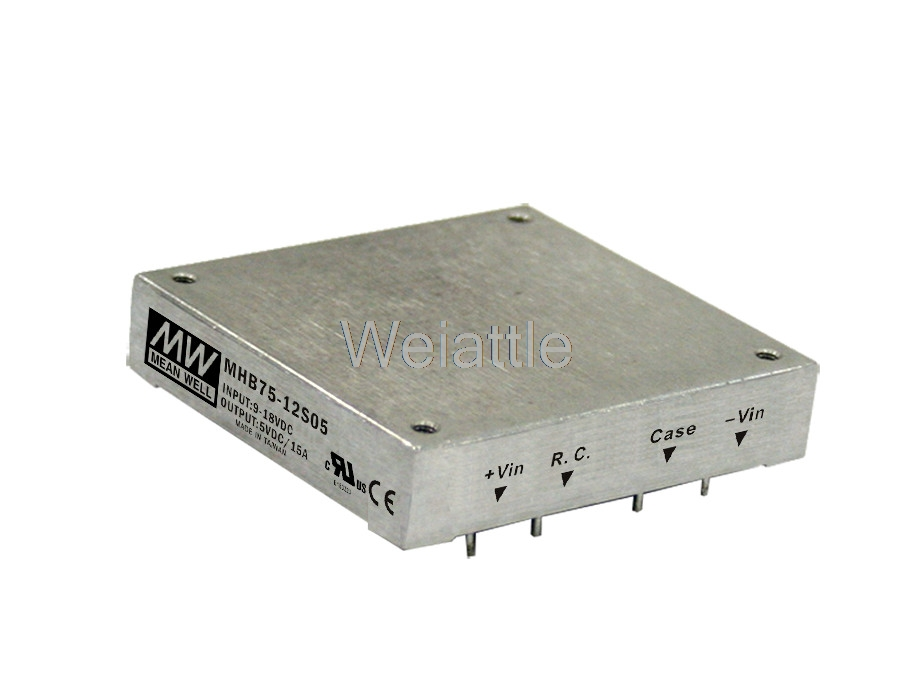 цена на MEAN WELL original MHB75-48S05 5V 15A meanwell MHB75 5V 75W DC-DC Half-Brick Regulated Single Output Converter