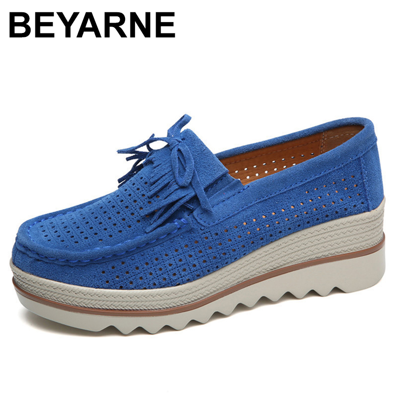 BEYARNEGenuine   Suede     Leather   Women's Platform Sneakers Summer Tassel Hollow Flat Women Shoes Casual SlipOn CreepersMoccasinsE197